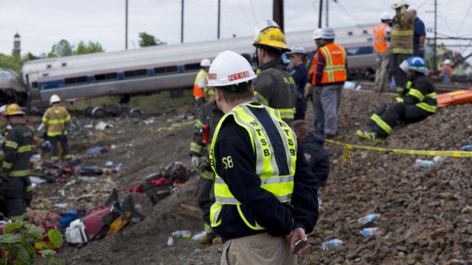 Member Robert Sumwalt on the scene of the Amtrak Train #188 Derailment in Philadelphia.
