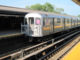 A train on the 7 Line pulls into the Mets – Willets Point station in Queens on May 29, 2012.