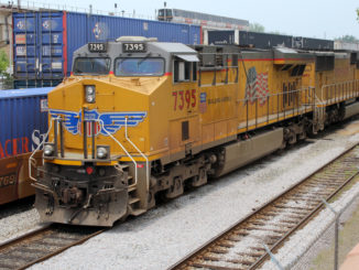 A pair of Union Pacific locomotives idle in Atlanta on June 11, 2011. (Photo by Todd DeFeo)