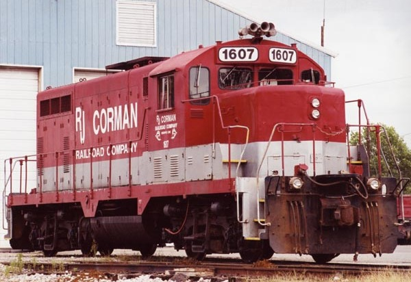 An engine from the Nicholasville, Ky., -based short line R.J. Corman sits idle outside the engine house in downtown Guthrie.